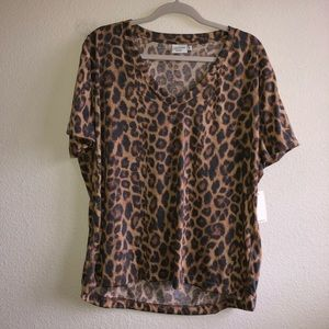 NWT Leopard Print v neck top
